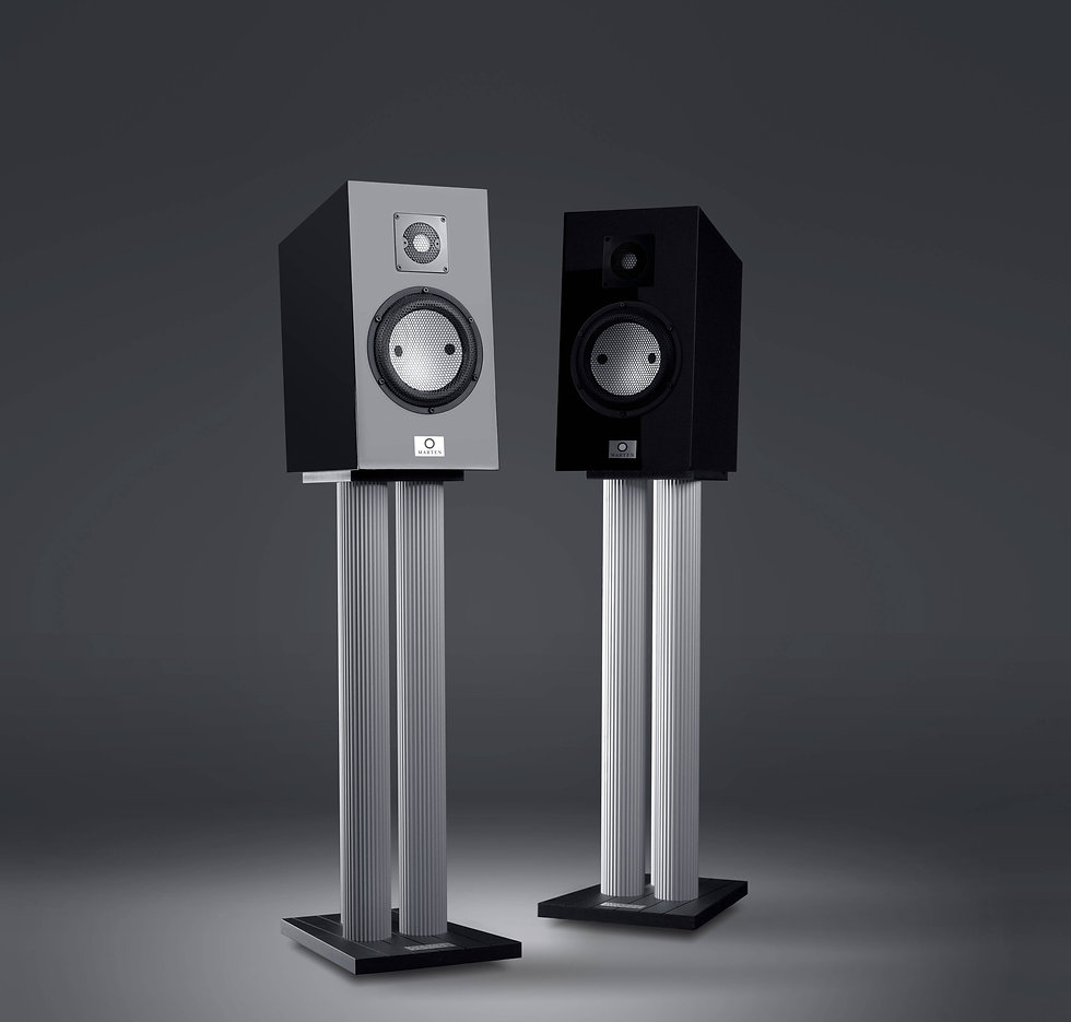 Marten Duke 2 loudspeakers shown on Solid Tech stands,