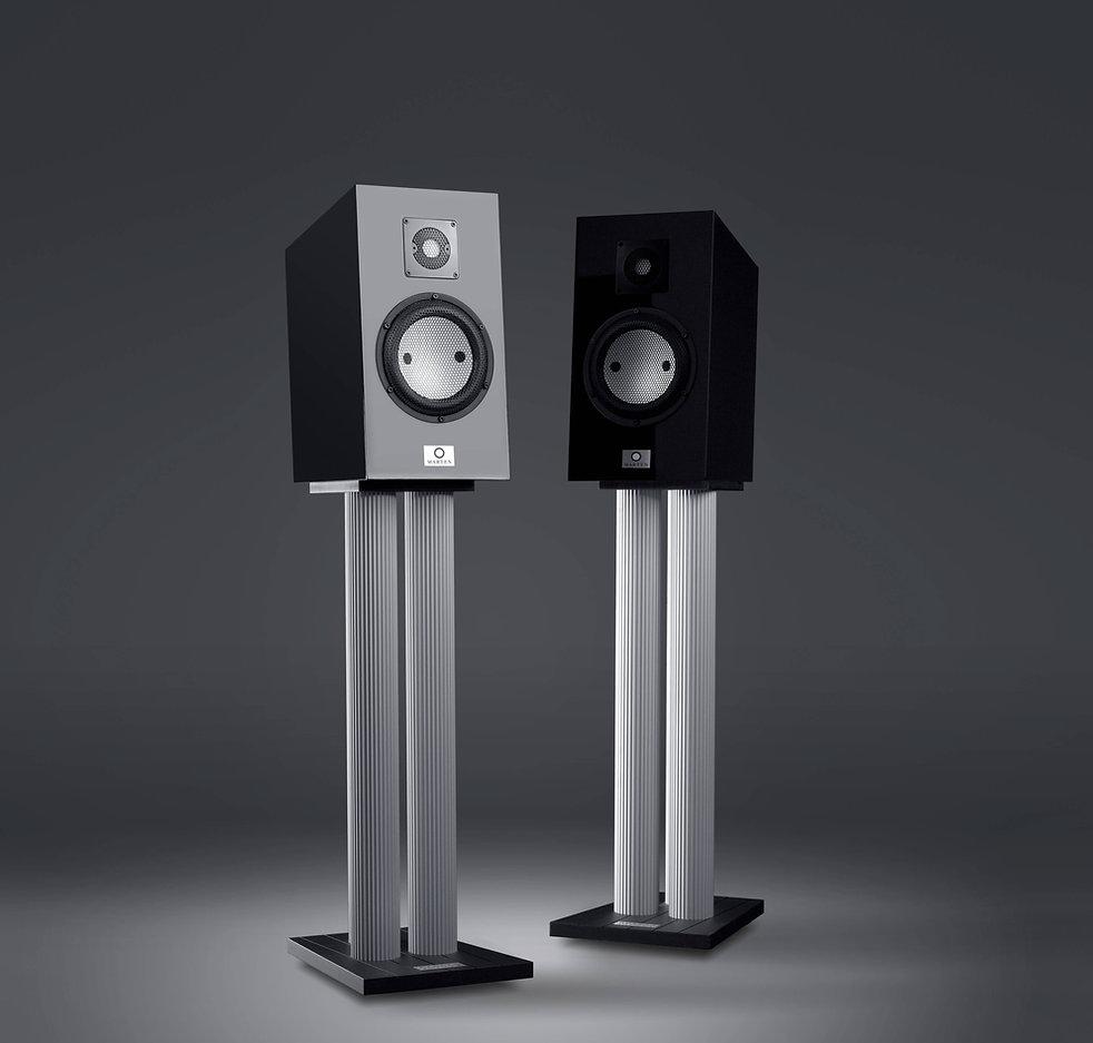 Marten Duke 2 loudspeakers shown on Solid Tech stands,