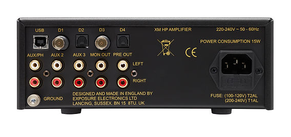 rear panel of the Exposure XM HP headphone amplifier,