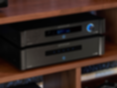 Emotiva A-500 power amplifier shown with th MC-700 processor, the little audio company,