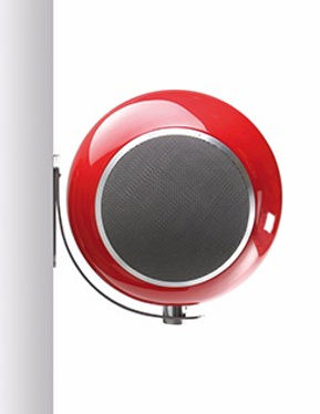 Elipson Planet loudspeakers, Elipson speakers, on-wall speakers, wall mount speakers, sherical speakers, round speakers, compact speakers, the little audio company,