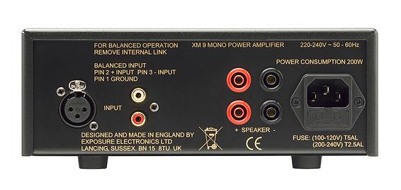 rear panel of the Exposure XM9 monoblock amplifier,