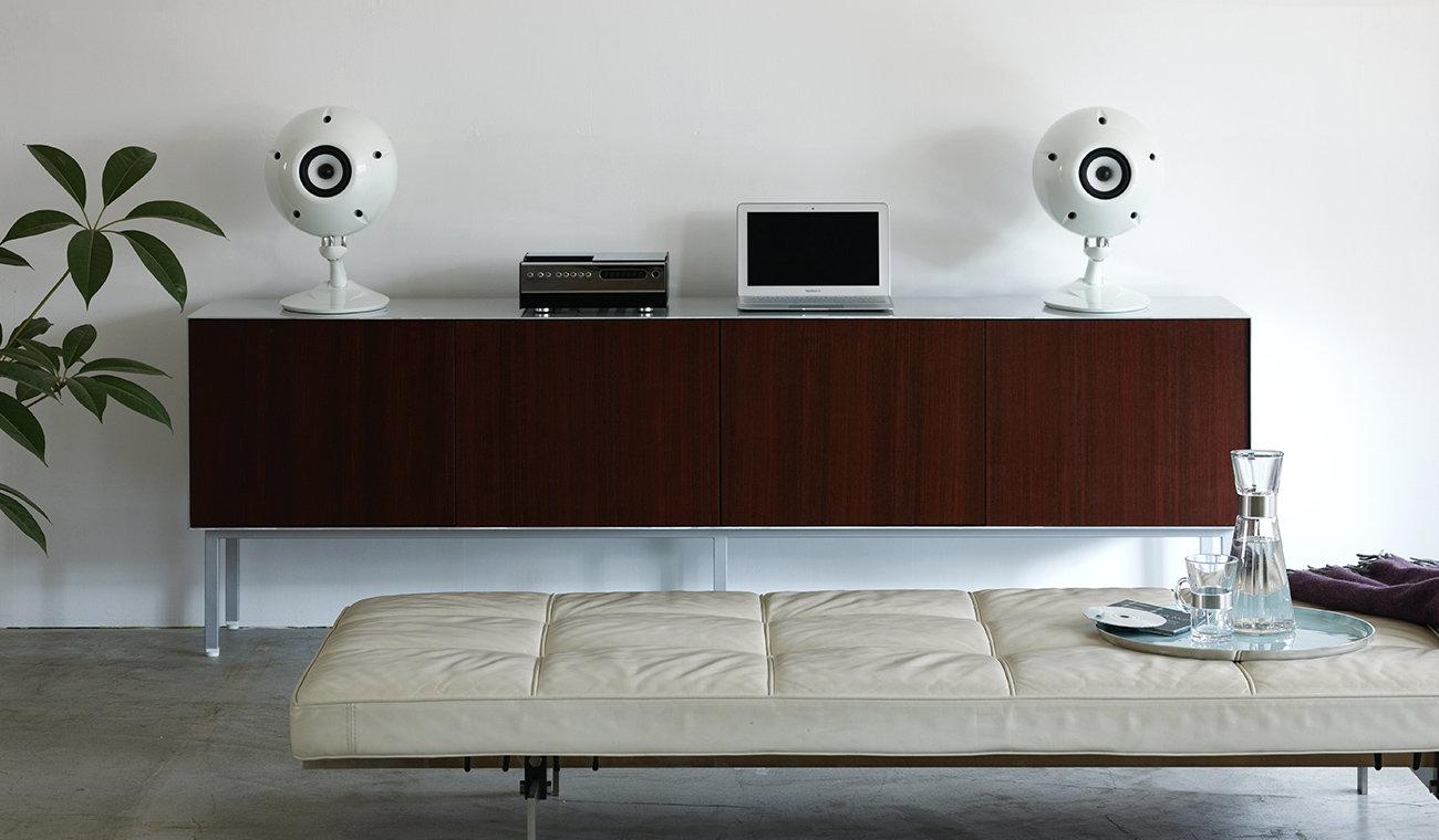 Eclipse TD510 Mk2 loudspeakers, shown in white,