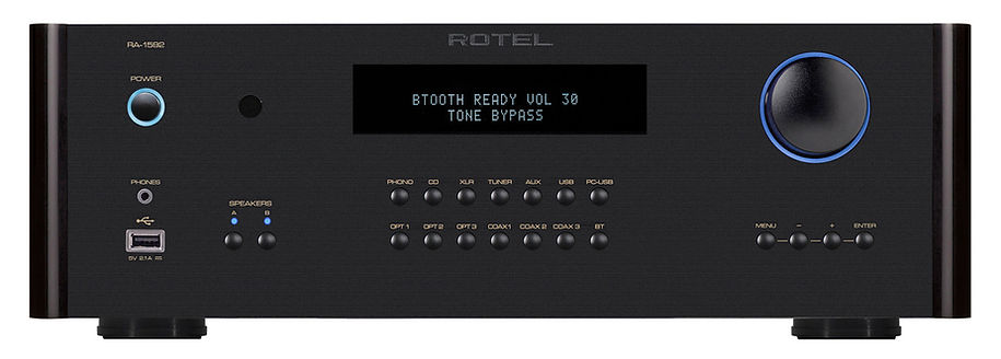 Rotel RA1592 amplifier shown in black,