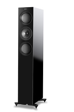 KEF R5 loudspeakers shown in high gloss black, the little audio company,