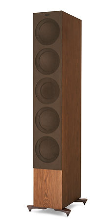 KEF R11 loudspeakers shown in walnut with grille, the little audio company,