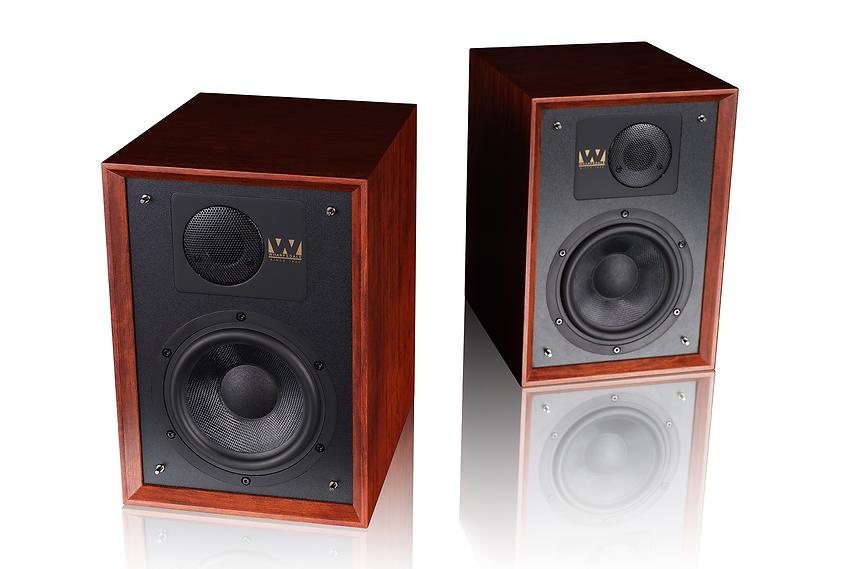 Wharfedale Denton 85 loudspeakers shown in mahogany,