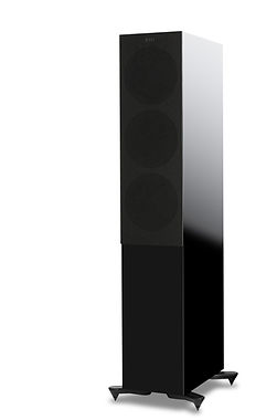 KEF R7 loudspeakers in high gloss black with grille, the little audio company,