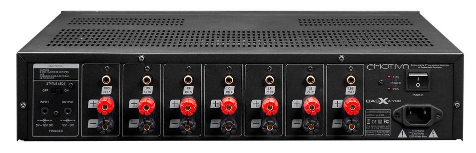 rear panel of the Emotiva A-700 home theatre power amplifier, the little audio company,