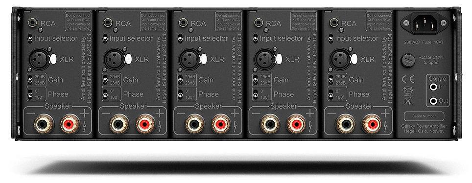 rear panel of the Hegel C55 power amplifier,