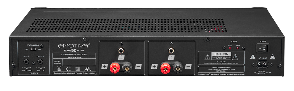 rear panel of the Emotiva A-150 stereo power amplifier, the little audio company,