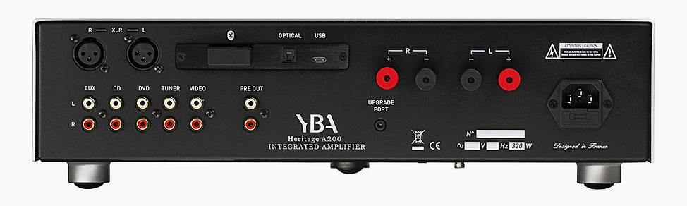 rear panel of the YBA Heritage A200 amplifier,