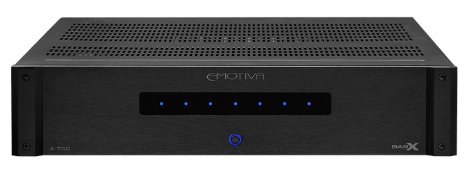 click here for more on the Emotiva BasX A700 home theatre power amplifier,