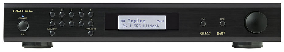 Rotel RT11 tuner shown in black,