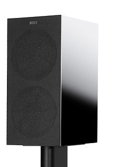 KEF R3 loudspeakers shown with grille,