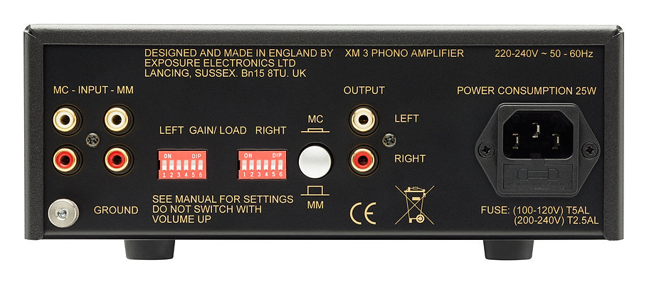 rear panel of the Exposure XM3 Phono amplifier,