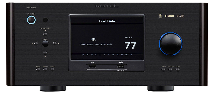 Rotel RAP1580 Mk2 shown in black,