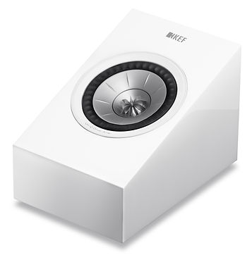 KEF R8a Atmos effects speaker shown in high gloss white, the little audio company,
