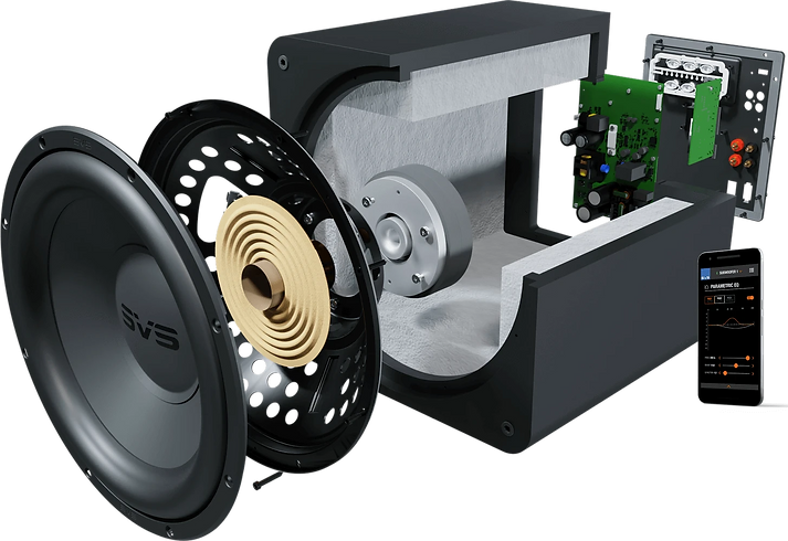blow up view of the SVS SB1000 Pro subwoofer,