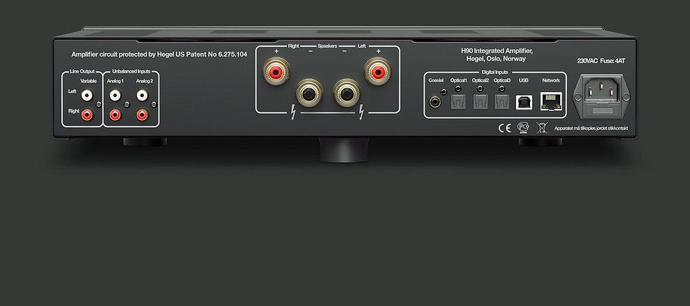 rear panel of the Hegel H90 amplifier,