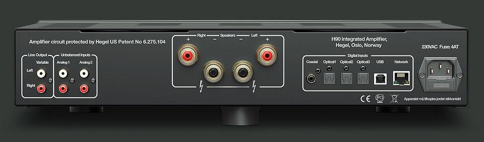 rear panel of the Hegel H95 amplifier,