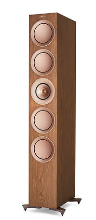 KEF R11 loudspeakers shown in walnut, the little audio company,