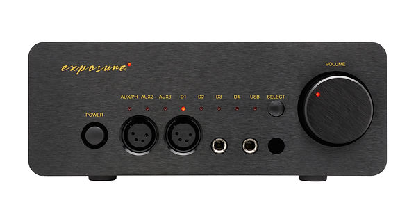 Exposure XM HP headphone amplifier shown in black,