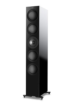 KEF R11 loudspeakers shown in high gloss black, the little audio company,