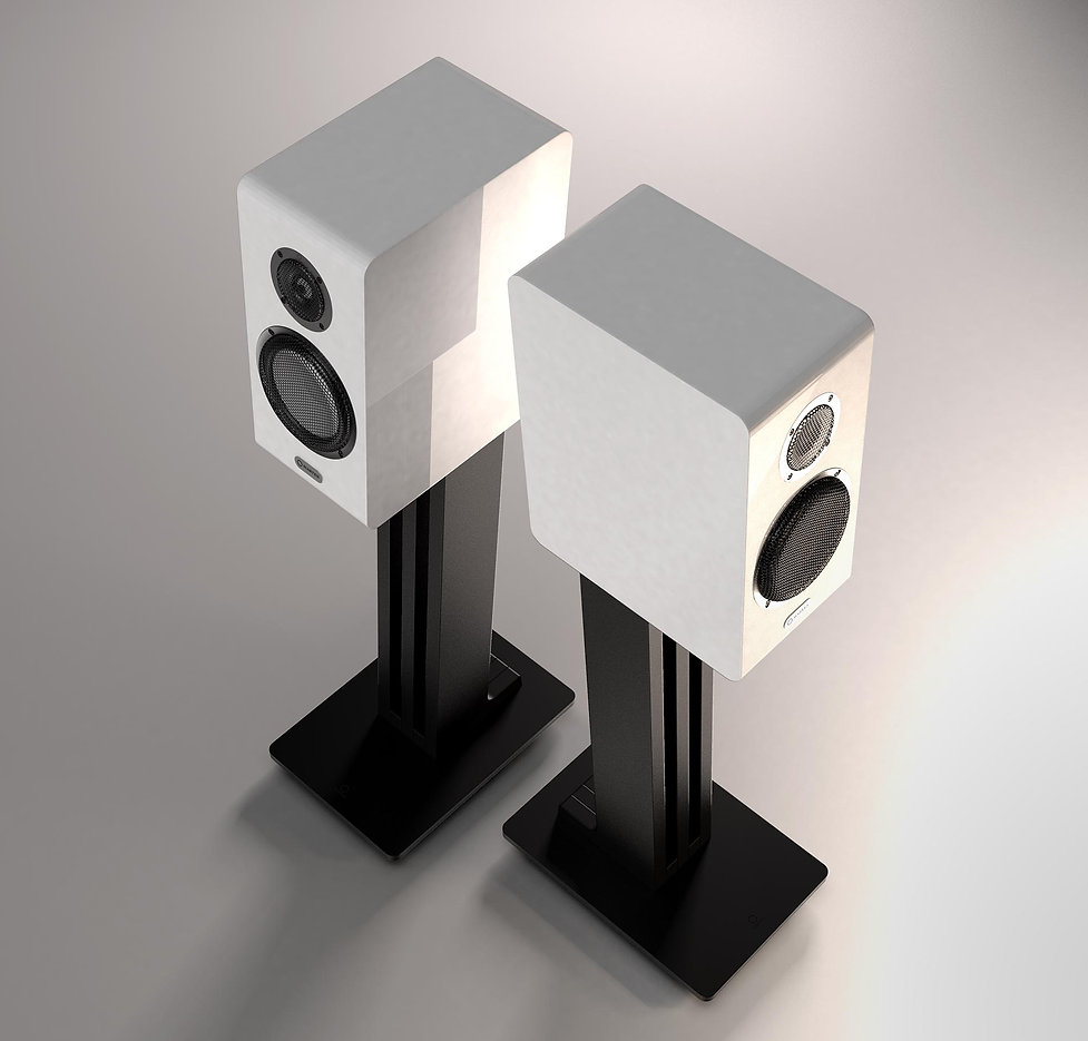 Marten Oscar Duo loudspeakers shown in Piano White,