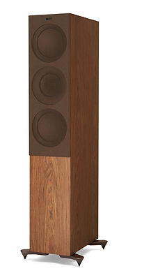 KEF R7 loudspeakers shown in walnut with grille, the little audio company,