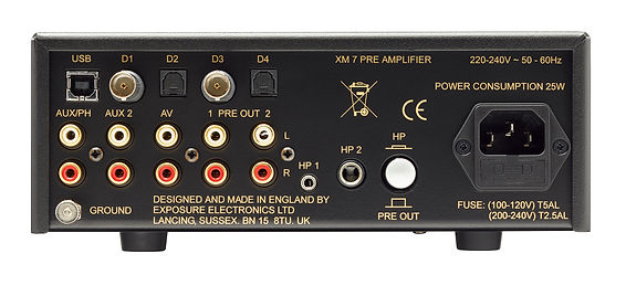 rear panel of the Exposure XM7 pre-amplifier,
