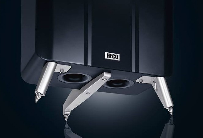 dual reflex ports and solid legs of the Einklang speakers