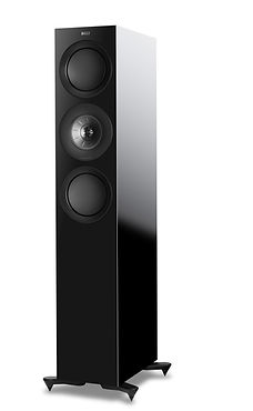 KEF R7 loudspeakers in high gloss black, the little audio company,