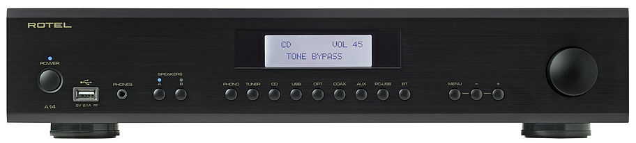 Rotel A14 amplifier shown in black,