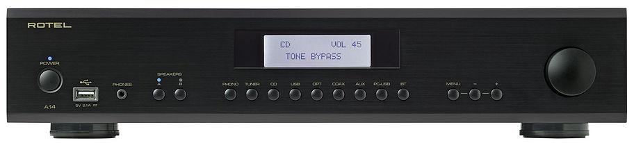 Rotel A14 Mk2 amplifier shown in black,