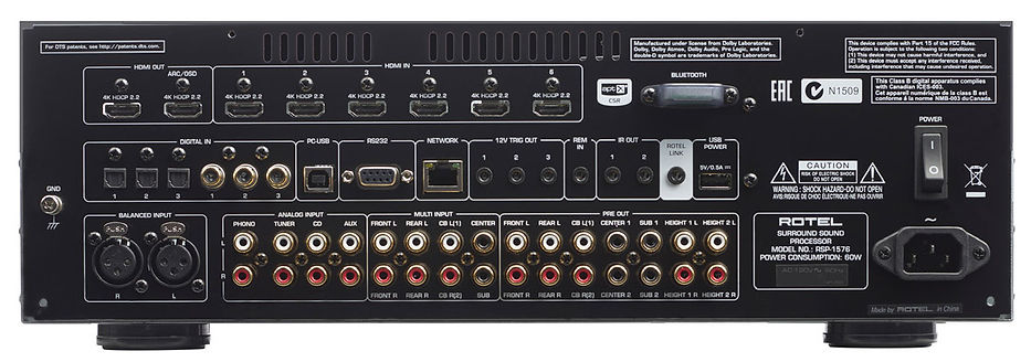 rear panel of the Rotel RSP1576 MkII,