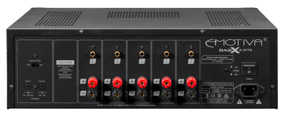 rear panel of the Emotiva A5175 home theatre power amplifier, the little audio company,