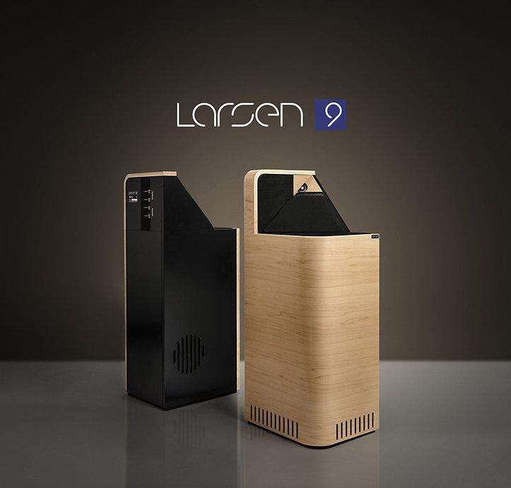 Larsen 9 loudspeakers show in maple,