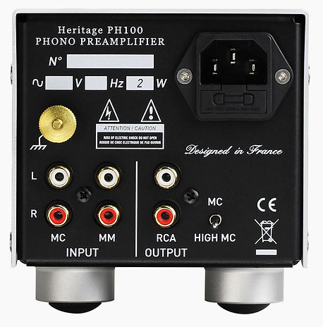 rear panel of the YBA Heritage PH100 phono pre-amplifier,