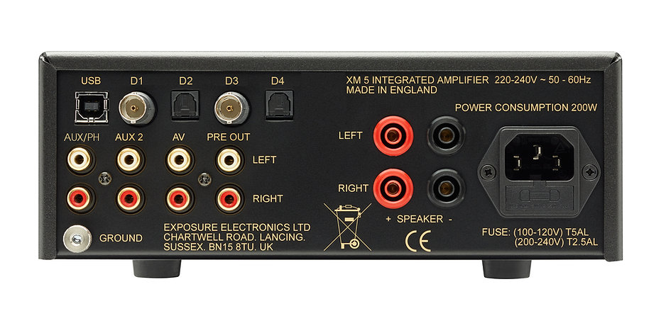 rear panel of the Exposure XM5 amplifier,