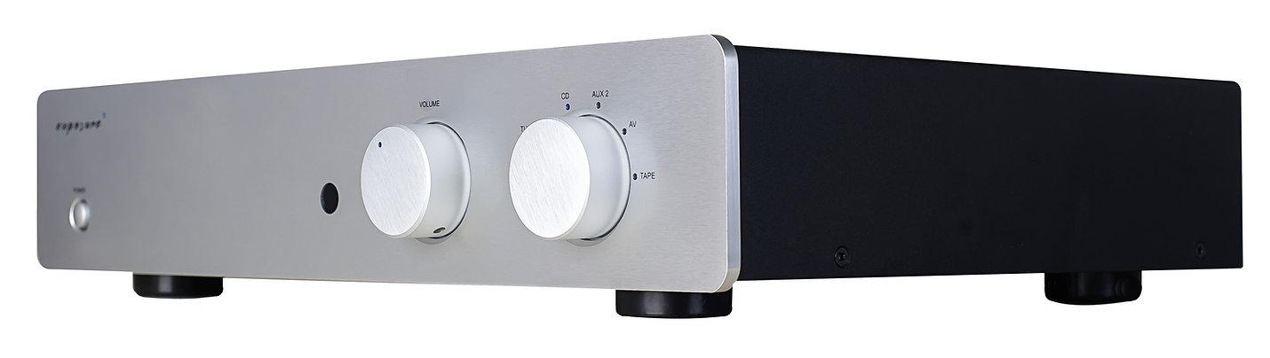 Exposure 3010S2D pre-amplifier shown in titanium,