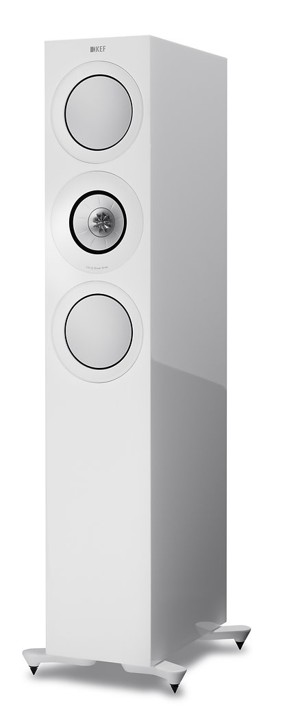 KEF R7 loudspeakers in white, KEF R Series in Birmingham, KEF in Birmingham, KEF in the Midlands, KEF at the little audio company in Birmingham,