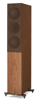 KEF R5 loudspeakers shown in walnut with grille, the little audio company,