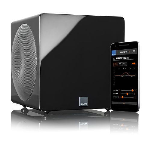 SVS SB3000 Micro home theatre subwoofer in gloss black,