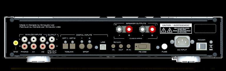 Moon 240i amplifier, rear panel, the little audio company