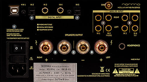 rear panel of the Norma Audio HS-IPA1 amplifier,