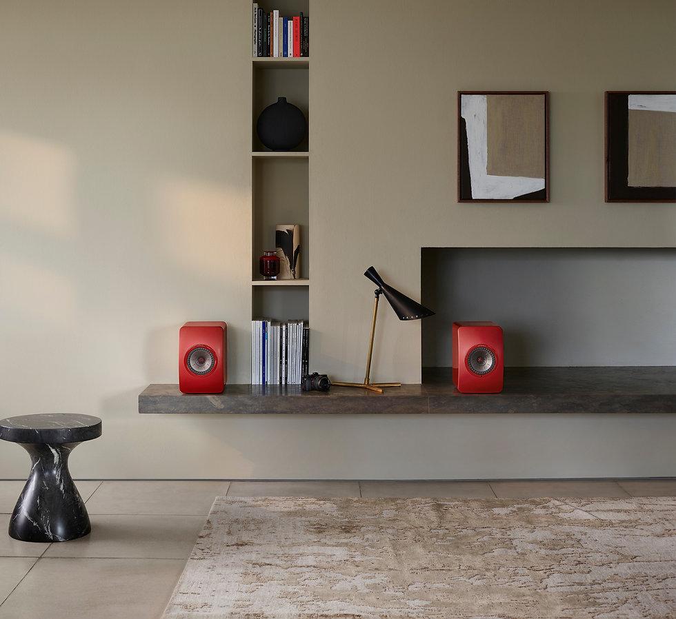 KEF LS50 Wireless 2 loudspeakers in crimson red