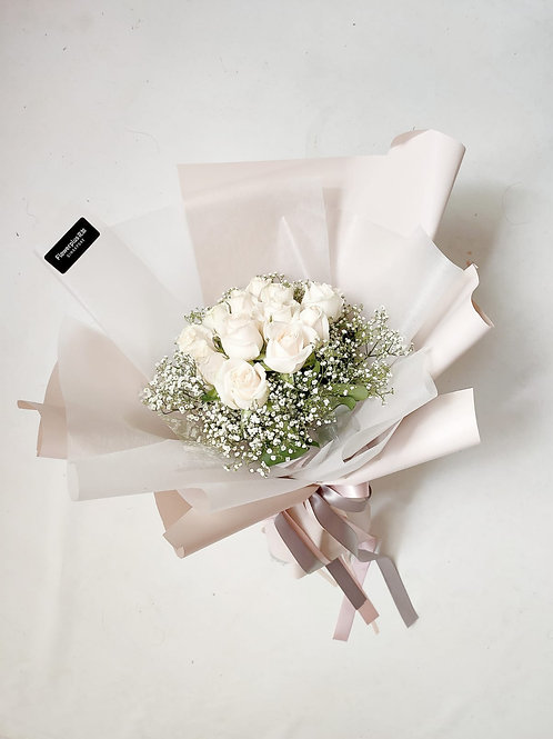Daily Bouquet - SWEET WHITE ROSE BOUQUET