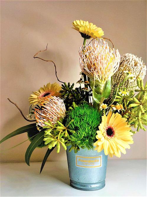 Floral in Metal Vase - Dream of Golden