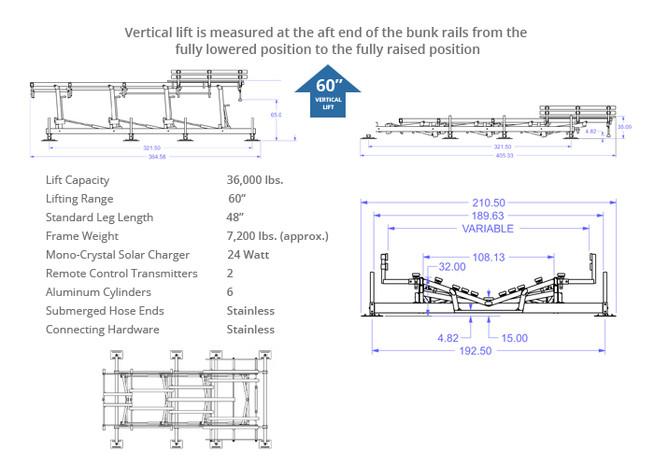 36000-lb capacity boat lift specs